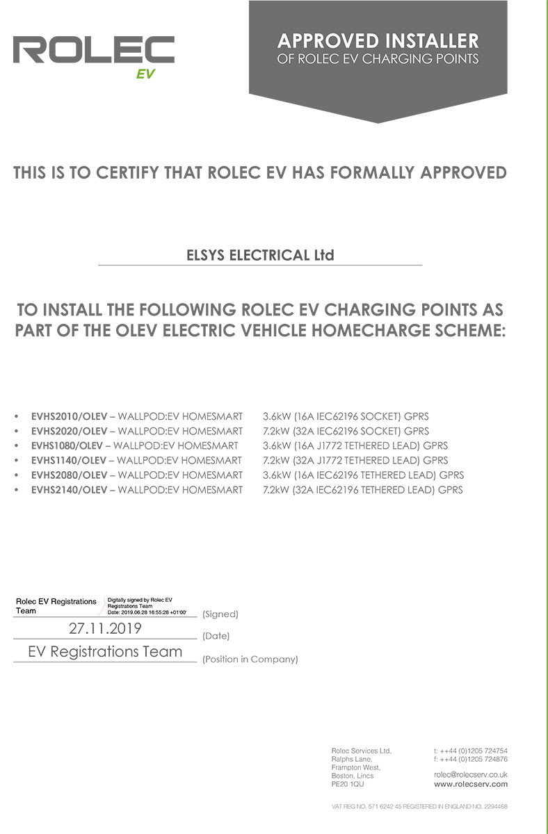 Rolec Approved Installer Certificate
