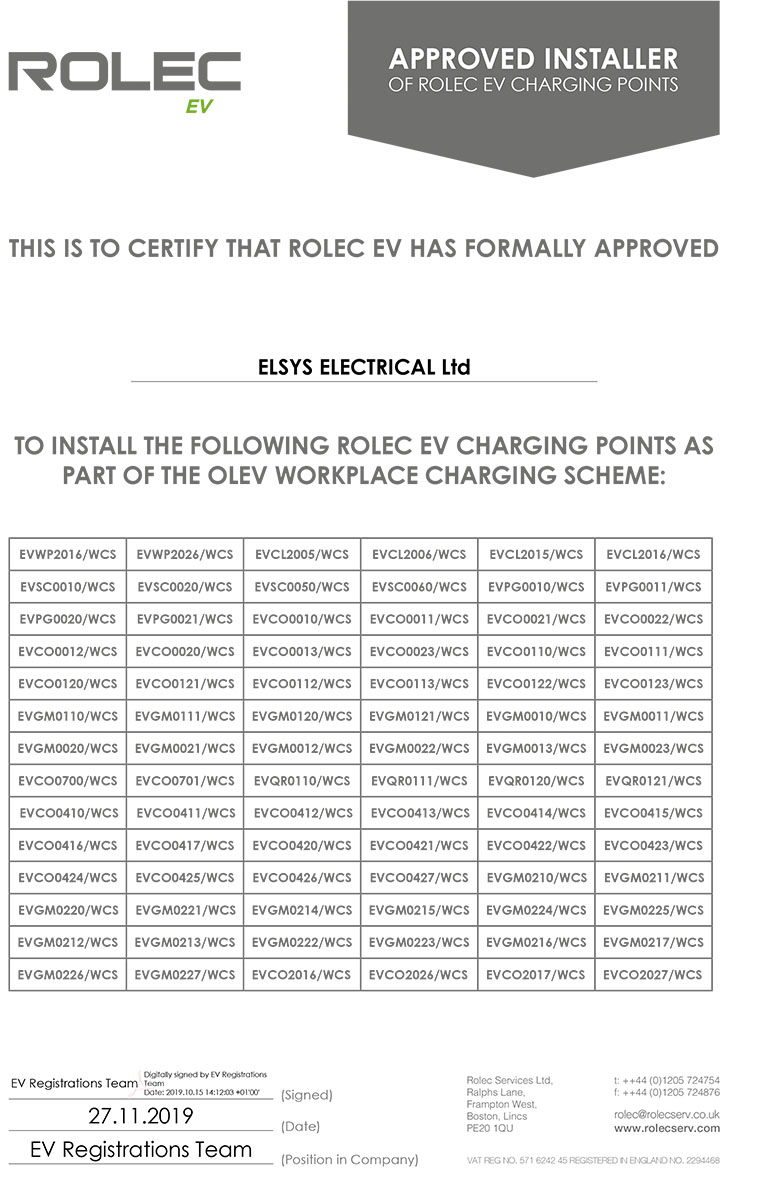 Rolec Approved Installer Certificate