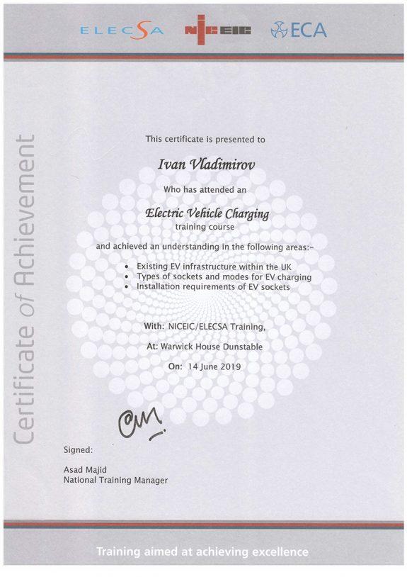 EV Charging Installer Certificat Of Traning