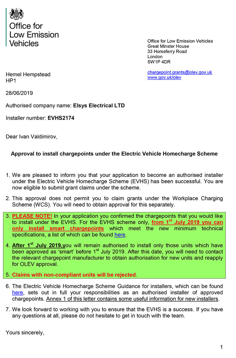 Elsys Electrical EVHS Installer Authorisation Letter