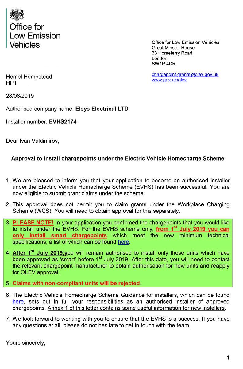 Elsys Electrical EVHS Installer Authorisation Letter