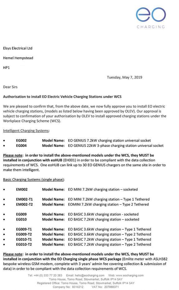 Elsys Electrical Ltd - WCS All Models Approval Letter