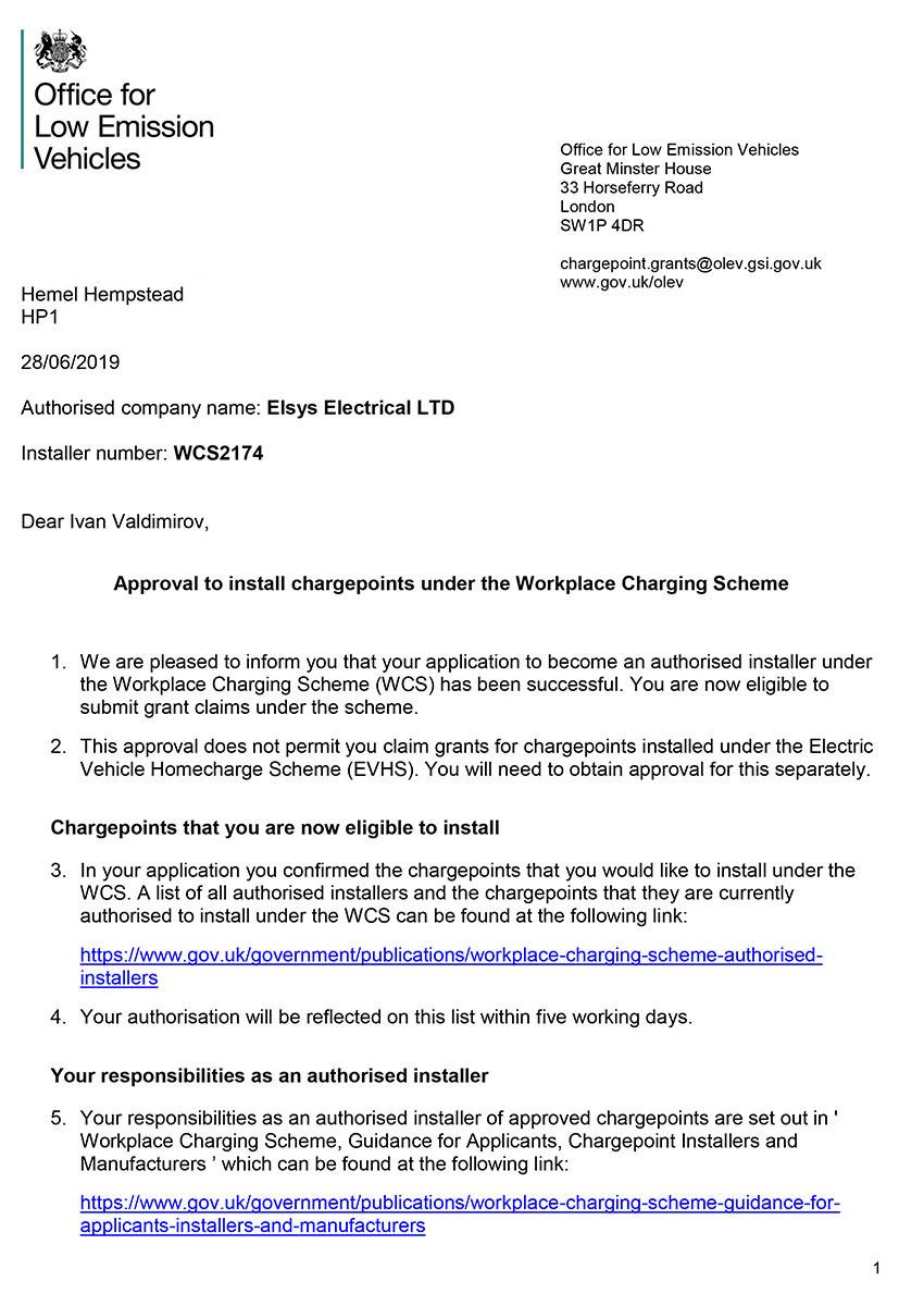 Elsys Electrical WCS Installer Authorisation Letter